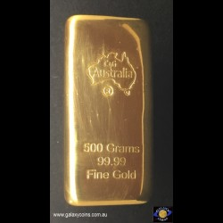 500 grams cast gold bar.  C4G Australia 99.99 fine gold. Lay-by Available