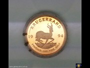 1994 Krugerrand. 1 oz Fine Gold - Bullion Coin. Springbok walking right. Bust of Paul Kruger. Reeded edge. SA Mint Certificate & Red Leather case. (Please note that email offers are considered on all coins.)