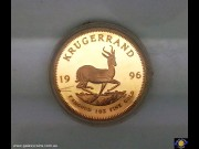 1996 Krugerrand. 1 oz Fine Gold - Bullion Coin. Springbok walking right. Bust of Paul Kruger. Reeded edge. SA Mint Red Leather case. (Please note that email offers are considered on all coins.)