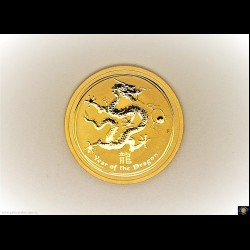 $50. Half oz 9999 Gold - Bullion coin. Lunar Series - Year of the Dragon 2012. Elizabeth II. Reeded edge - Perth Mint.  (*) (Please note that email offers are considered on all coins.)