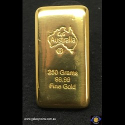 250 grams cast gold bar.  C4G Australia 99.99 fine gold. Lay-by Available