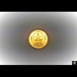 500 Tugrik. 1/25 oz 9999 Gold - Bullion Coin. Kubilai Khan-Marco Polo 1275-1292. National emblem. Reeded edge. (*) (Please note that email offers are considered on all coins.)