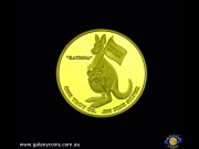 "One ounce encased Bullion medallion. Gold Plated. Brisbane Convention & lion's head. ""Katrina"" kangaroo carrying joey. (Please note that email offers are considered on all coins.)"