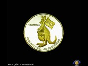 "One ounce encased Bullion medallion. Brisbane Convention & lion's head. ""Katrina"" gold-plated kangaroo carrying joey. (Please note that email offers are considered on all coins.)"