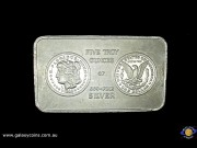 Five ounces minted bar. South East Refining logo with 1983 Morgan dollar image. (Please note that email offers are considered on all coins.)