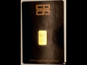 Five grams minted gold ingot. CPG Group 99.99 fine gold.