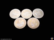 Crown. Collection of 5 coins. The Five Crowns of Man. Millenium of Tynwald. Elizabeth II. Reeded edge. (Presentation case). (Please note that email offers are considered on all coins.) (*)