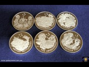 Set of Six Sterling Silver Australian Bicentenary 1788-1988 Medallions. Federation, Living Together, Defence Forces, The Aboriginals, Explorers Pioneers, British Settlement. (Please note that email offers are considered on all coins.) (*)