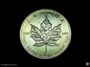 $5. One ounce fine silver. Maple leaf. Elizabeth II. Reeded edge. Bullion coin. (*) (Please note that email offers are considered on all coins.)