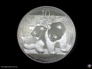 10 Yuan. 1 oz Ag 999. 2 pandas, 1 lying on back. Temple of Heaven. Bullion coin. (*) (Please note that email offers are considered on all coins.)