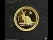 $15 1999. 1/10 oz 9999 Gold - Bullion Coin. Lunar Series - Year of the Rabbit. Elizabeth II. Reeded Edge. Encased in Green Box with Certificate. Perth Mint (*)  (Please note that email offers are considered on all coins.)