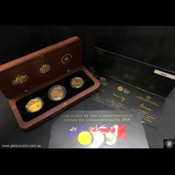 2008 Icons of the Commonwealth Gold Coin Set. Elizabeth II. Encased in Wooden Box with Certificate. The Royal Mint, The Royal Australian Mint and The Royal Canadian Mint. (1/5 oz 9999 24ct Kangaroo  at Sunset, 1/4 oz 22ct St George Soveriegn and 1/4 oz 99
